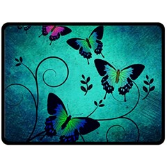 Texture Butterflies Background Double Sided Fleece Blanket (large)  by Celenk