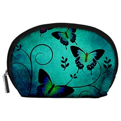 Texture Butterflies Background Accessory Pouches (large)  by Celenk