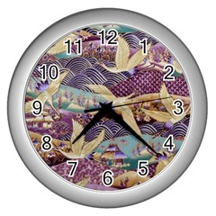 Textile Fabric Cloth Pattern Wall Clocks (silver)  by Celenk