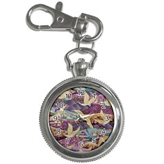 Textile Fabric Cloth Pattern Key Chain Watches by Celenk