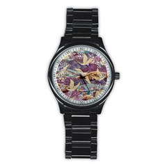 Textile Fabric Cloth Pattern Stainless Steel Round Watch by Celenk