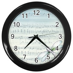 Vintage Blue Music Notes Wall Clocks (black)
