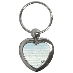 Vintage Blue Music Notes Key Chains (heart)  by Celenk