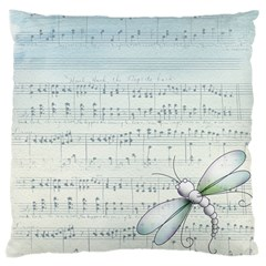 Vintage Blue Music Notes Large Cushion Case (one Side) by Celenk