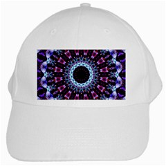Kaleidoscope Shape Abstract Design White Cap by Celenk