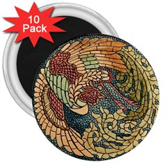 Wings Feathers Cubism Mosaic 3  Magnets (10 Pack)  by Celenk