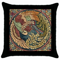 Wings Feathers Cubism Mosaic Throw Pillow Case (black) by Celenk