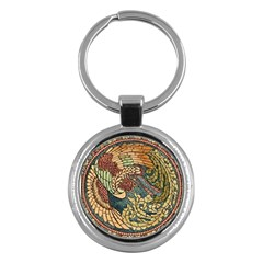 Wings Feathers Cubism Mosaic Key Chains (round)  by Celenk