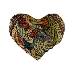 Wings Feathers Cubism Mosaic Standard 16  Premium Heart Shape Cushions by Celenk