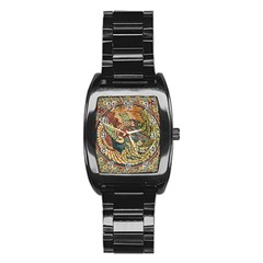 Wings Feathers Cubism Mosaic Stainless Steel Barrel Watch by Celenk