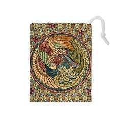 Wings Feathers Cubism Mosaic Drawstring Pouches (medium)