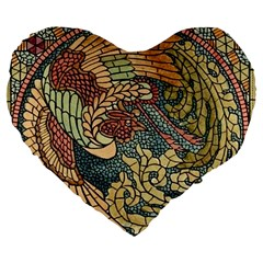 Wings Feathers Cubism Mosaic Large 19  Premium Flano Heart Shape Cushions by Celenk