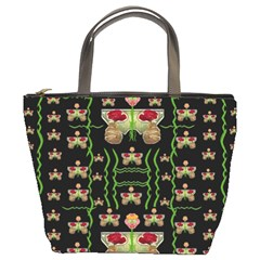 Roses In The Soft Hands Makes A Smile Pop Art Bucket Bags by pepitasart