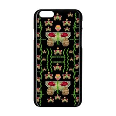 Roses In The Soft Hands Makes A Smile Pop Art Apple Iphone 6/6s Black Enamel Case by pepitasart