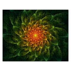 Beautiful Orange Green Desert Cactus Fractalspiral Rectangular Jigsaw Puzzl by jayaprime