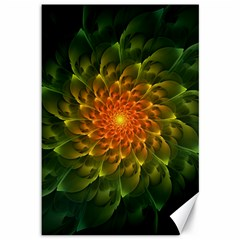Beautiful Orange Green Desert Cactus Fractalspiral Canvas 12  X 18   by jayaprime