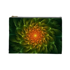 Beautiful Orange Green Desert Cactus Fractalspiral Cosmetic Bag (large)  by jayaprime