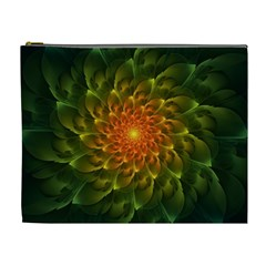 Beautiful Orange Green Desert Cactus Fractalspiral Cosmetic Bag (xl) by jayaprime