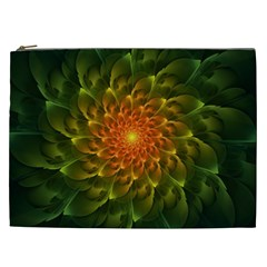 Beautiful Orange Green Desert Cactus Fractalspiral Cosmetic Bag (xxl)  by jayaprime