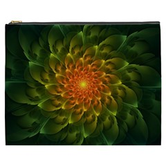 Beautiful Orange Green Desert Cactus Fractalspiral Cosmetic Bag (xxxl)  by jayaprime