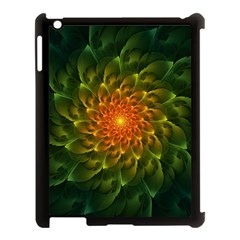Beautiful Orange Green Desert Cactus Fractalspiral Apple Ipad 3/4 Case (black) by jayaprime