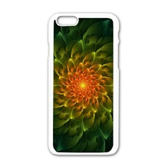Beautiful Orange Green Desert Cactus Fractalspiral Apple Iphone 6/6s White Enamel Case by jayaprime