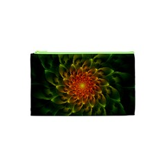 Beautiful Orange Green Desert Cactus Fractalspiral Cosmetic Bag (xs) by jayaprime