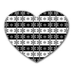 Snowflakes   Christmas Pattern Heart Mousepads by Valentinaart