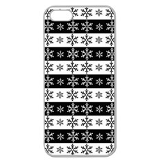 Snowflakes   Christmas Pattern Apple Seamless Iphone 5 Case (clear) by Valentinaart