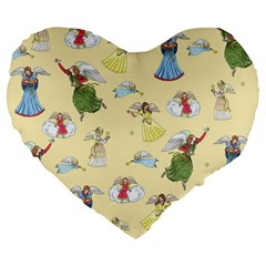 Christmas Angels  Large 19  Premium Heart Shape Cushions by Valentinaart