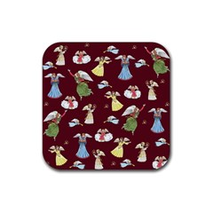 Christmas Angels  Rubber Coaster (square)  by Valentinaart
