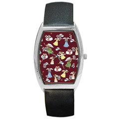 Christmas Angels  Barrel Style Metal Watch by Valentinaart