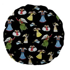 Christmas Angels  Large 18  Premium Flano Round Cushions by Valentinaart
