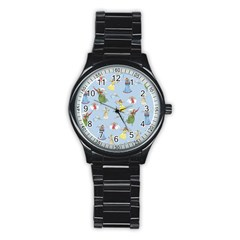 Christmas Angels  Stainless Steel Round Watch