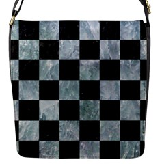 Square1 Black Marble & Ice Crystals Flap Messenger Bag (s)