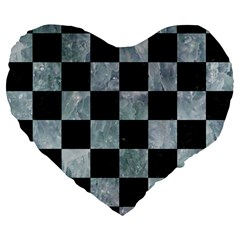 Square1 Black Marble & Ice Crystals Large 19  Premium Flano Heart Shape Cushions by trendistuff