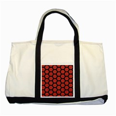 Hexagon2 Black Marble & Red Denim Two Tone Tote Bag by trendistuff