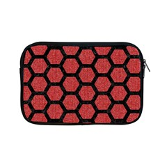 Hexagon2 Black Marble & Red Denim Apple Ipad Mini Zipper Cases by trendistuff