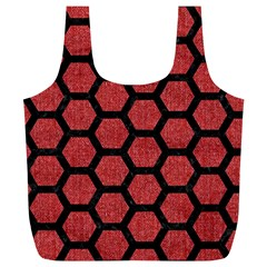 Hexagon2 Black Marble & Red Denim Full Print Recycle Bags (l)  by trendistuff
