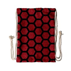 Hexagon2 Black Marble & Red Denim Drawstring Bag (small) by trendistuff