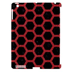 Hexagon2 Black Marble & Red Denim (r) Apple Ipad 3/4 Hardshell Case (compatible With Smart Cover) by trendistuff