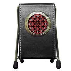 Puzzle1 Black Marble & Red Denim Pen Holder Desk Clocks by trendistuff