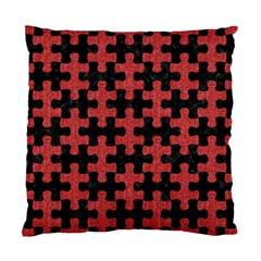 Puzzle1 Black Marble & Red Denim Standard Cushion Case (two Sides)