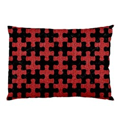 Puzzle1 Black Marble & Red Denim Pillow Case by trendistuff