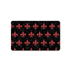 Royal1 Black Marble & Red Denim Magnet (name Card) by trendistuff