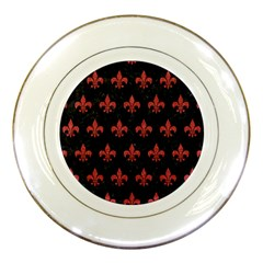 Royal1 Black Marble & Red Denim Porcelain Plates by trendistuff