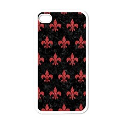 Royal1 Black Marble & Red Denim Apple Iphone 4 Case (white) by trendistuff