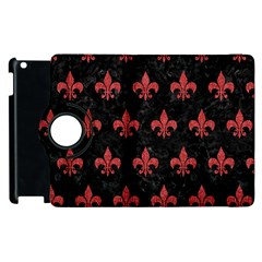 Royal1 Black Marble & Red Denim Apple Ipad 2 Flip 360 Case by trendistuff