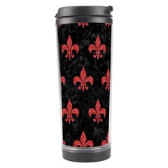 Royal1 Black Marble & Red Denim Travel Tumbler by trendistuff