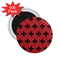 Royal1 Black Marble & Red Denim (r) 2 25  Magnets (100 Pack)  by trendistuff